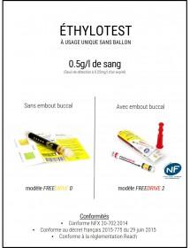 ÉTHYLOTEST À USAGE UNIQUE SANS BALLON - 0.5g/l de sang (Seuil de détection à 0.25mg/l d'air expiré)