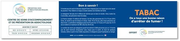 Abataba®. Réglette de sensibilisation Santé personnalisable www.mastercom.fr. Modèle client Association Addictions France du Var