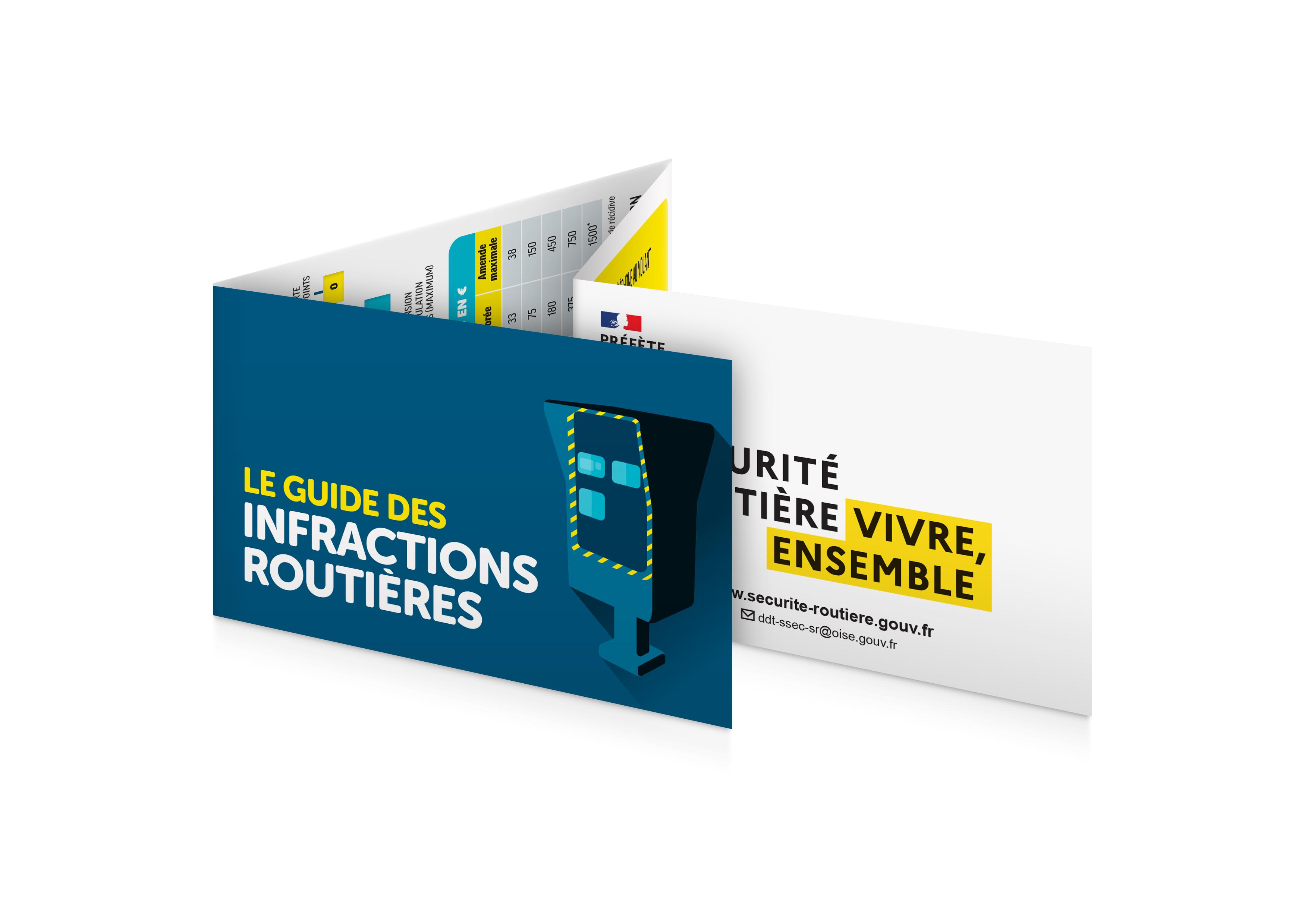 Réglette 4 volets Le Gudes des Infractions Routières personnalisée pour la DDT de l'Oise